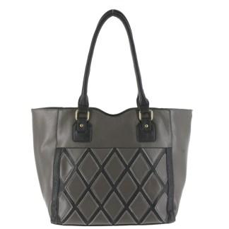 Argile Applique Patchwork Two Tone Large Shoulder Tote Handbag Grey Black