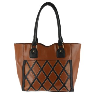 Argile Applique Patchwork Two Tone Large Shoulder Tote Handbag Camel Black
