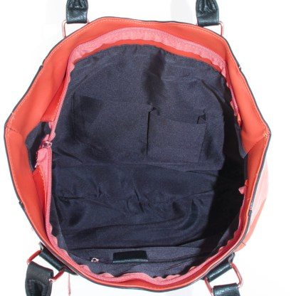 Argile Applique Patchwork Two Tone Large Shoulder Tote Handbag Red Black