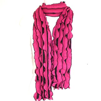 Elegant Ruffled Fuchsia Black Soft Light Shawl Scarf Wrap