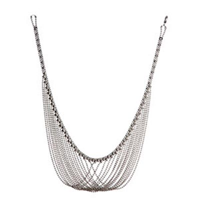 Sergio Gutierrez Liquid Metal Soft Bib Mesh Ball Chain Necklace 20 1/2""