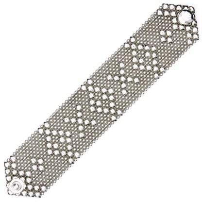 Sergio Gutierrez Liquid Metal Hugs & Kisses Mesh Cuff Bracelet Antiqued Silver