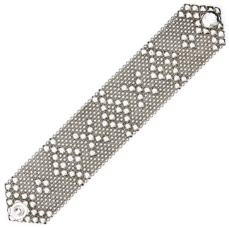 Sergio Gutierrez Liquid Metal Hugs & Kisses Mesh Cuff Bracelet Antiqued Silver