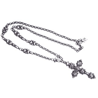Sergio Gutierrez Liquid Metal Caged Cross Long Antiqued Silver Necklace