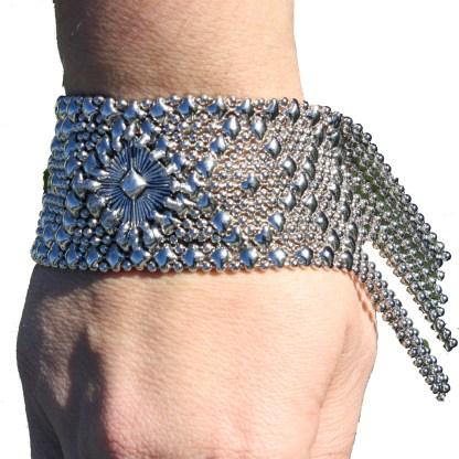 Sergio Gutierrez Liquid Metal Bracelet Fringe Firework Microchip Center