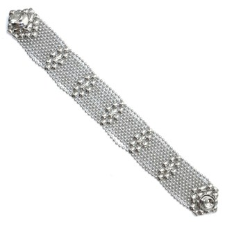 Sergio Gutierrez Liquid Metal Bracelet Tiny Ball Elongated Diamond Pattern TB34