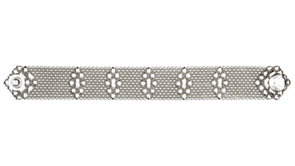 Sergio Gutierrez Liquid Metal Mesh Cuff Bracelet Tiny Ball Diamond Pattern TB35