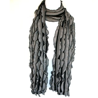 Elegant Ruffled Gray Black Soft Light Shawl Scarf Wrap Sheer & Solid Mix
