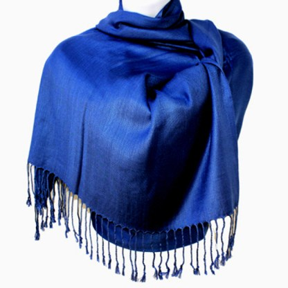 Nepal Solid Cobalt Blue 2 Ply Pashmina Shawl Scarf Stole
