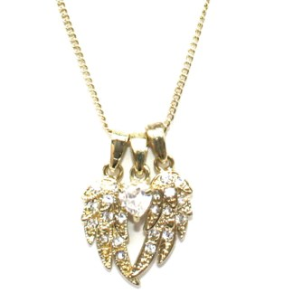 """Guardian Angel Protect Me Heart & Wings Sliding Charms 18Kt Gold PL Necklace 18"""""""