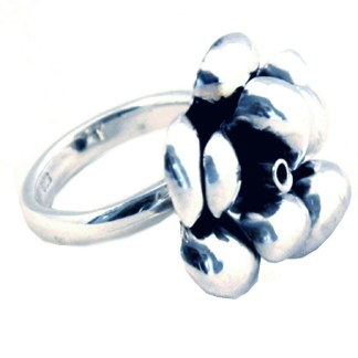 Eccentric Rose 3-D Large Sterling Silver 925 Cocktail Ring  Size 5-9 Gift Box