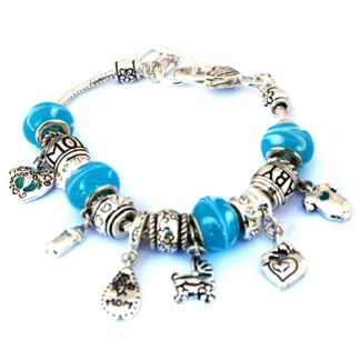 It's a Boy Gift Idea New Mom Baby Shower Blue Silver Sliding Charm Bracelet