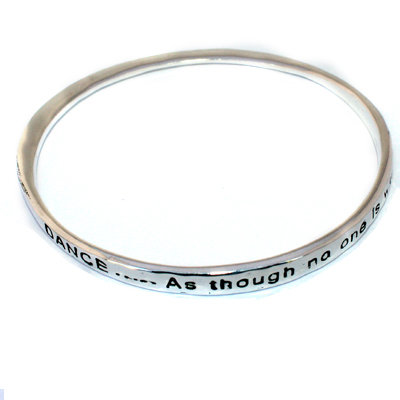 Infinity Twist Silver Bangle Bracelet Dance Like No One is Watching Inspirational