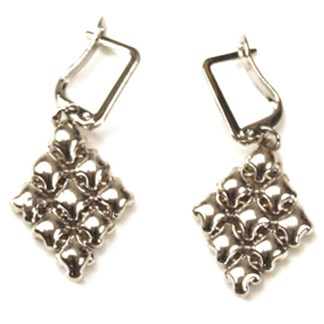 Sergio Gutierrez Liquid Metal Mesh Diamond Shaped Euro Clasp Fashion Earrings