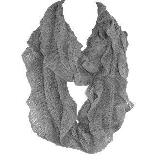 Elegant Gray Soft Woven Infinity Loop Figure Eight Endless Scarf Wrap