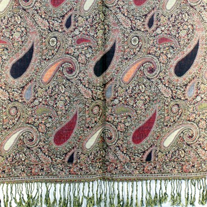 Vintage Paisley Teardrop Twist Rich Double-Sided Pashmina Shawl Scarf Brown Burgundy