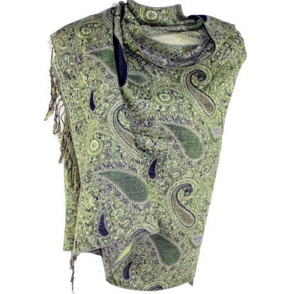 Vintage Paisley Teardrop Twist Rich Double-Sided Pashmina Shawl Scarf Olive Black