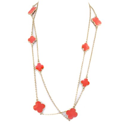 """48"""" Long Gold Plated Chain Coral Red Enamel 4 Leaf Clover Charm Fashion Necklace"""