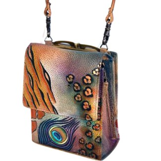 Anuschka Roomy Mini Sling Organizer Cross Body Traveler Peacock Feathers Safari