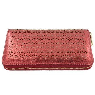 Silver Fever® Perforated Ladies Zip Around Organizer Wallet Clutch Metallic Burgundy