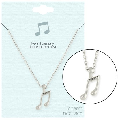 Silver Fever® Gift Ready Tiny Charm Necklace Musical Note
