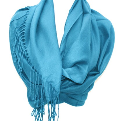 Nepal Solid True Blue 2 Ply Pashmina Shawl Scarf Stole