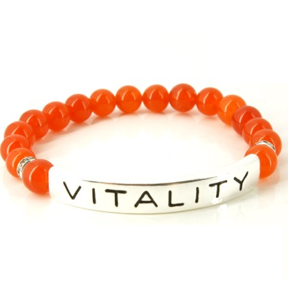 Stackable Stretch 10 MM Bead Bracelet Silver ID Clarity Power Carnelian Stone