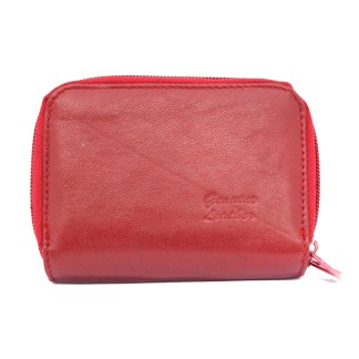 Womens Red Leather Wallet ID Credit Cards Coin Holder/ Organizer By Silver Fever®