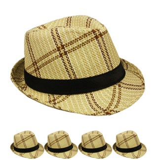 Silver Fever Plaid Banded Fedora