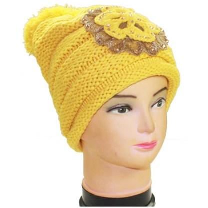 Silver Fever Crochet Hat Winter Beanie Jeweled Flower & Pom-pom