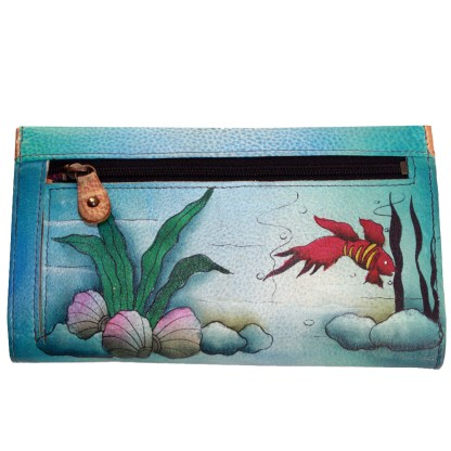 Anuschka Genuine Leather Check Book Wallet Clutch Painted Under The Sea Mermaid