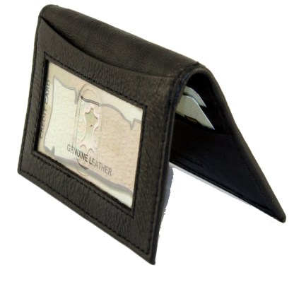 Slim Italian Leather Men's Wallet ID Credit Card Holder Genuine Leather Black NS