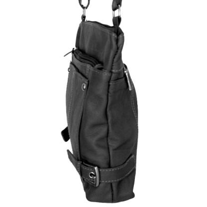 SILVERFEVER Genuine Leather 2 Zip Crossbody Traveler Handbag Purse