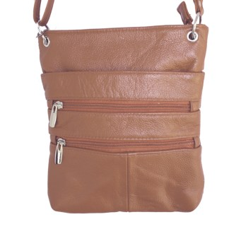Genuine Leather Light Brown Small Shoulder Cross Body Travel Mini Purse Bag