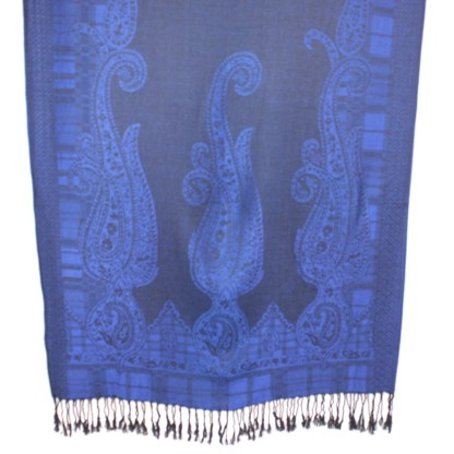 Jacquard Paisley Border Rich Double Side Pashmina Shawl Scarf Stole Cobalt & Black