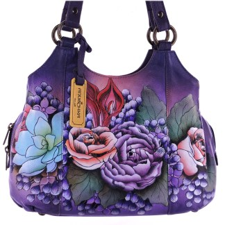 Anuschka Medium Triple-Comp Satchel Handpainted Leather Lush Lilac