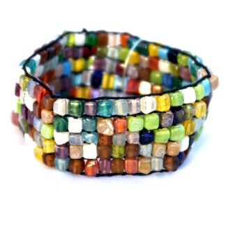 """Stretchable Wide Square Stone Bracelet Multicolor Beads Five Row Fits 7-8"""""""