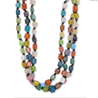 """Hand Knotted Square Stones Multicolor Beads Necklace Three Row 16+3"""""""
