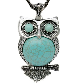 Large Genuine Turquoise Wise Owl Pendant Silver Plated Popcorn Chain Necklace 30