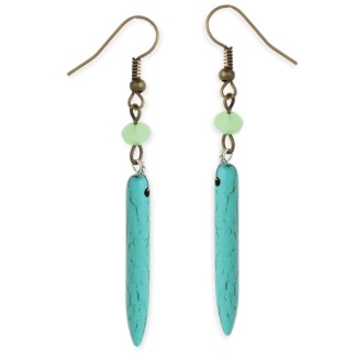 Silver Fever® Stone and Metal Drop Earrings