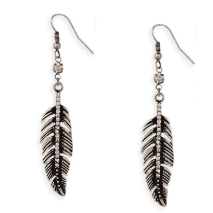 Silver Fever® Feather Drop Earring with Crystal Bead