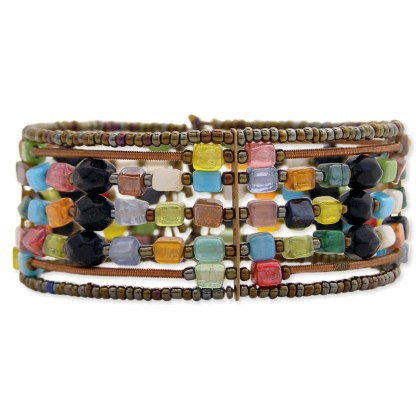 Silver Fever® Wide Metal and Glass Bead Cuff Bracelet
