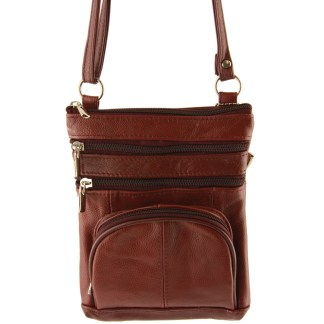 Genuine Leather Wine Brown Shoulder Round Pocket Cross Body Bag