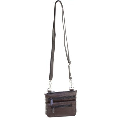 Genuine Leather Brown Small Shoulder Cross Body Travel Mini Purse Bag