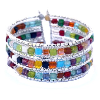 """Wide Snap Cuff Bangle Multicolor Beads 18 Kt Gold Pl 3 Row Stones Fits 7-8"""""""