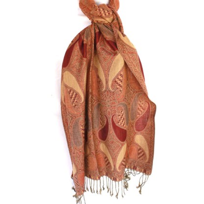 Solid Paisley Embroidered Pattern Camel Rust Pashmina Shawl Scarf Stole Wrap