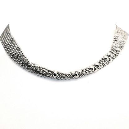Sergio Gutierrez Liquid Metal Tiny Silver Dots Flexible Choker Double Bracelet