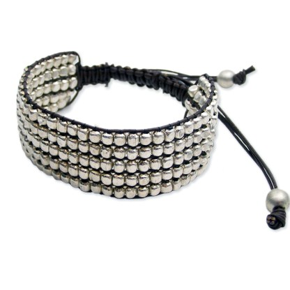 Silver Fever® Braided Bead Cuff Snap on Bracelet Bangle