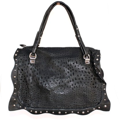 Perforated Medium Satchel Silver Studded Frill Wave Detail Double Handles Black