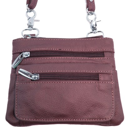 Genuine Leather Wine Small Shoulder Cross Body Travel Mini Purse Bag